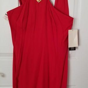 Red haltar dress